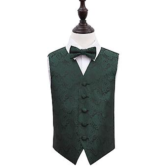 Boy's Emerald Green Paisley Patterned Wedding Waistcoat & Bow Tie Set