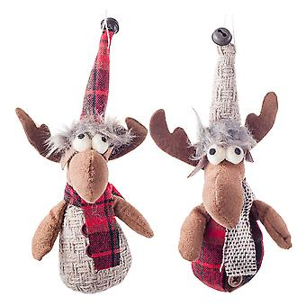 Pair of Hanging Fabric Reindeer Plush Christmas Tree Decorations