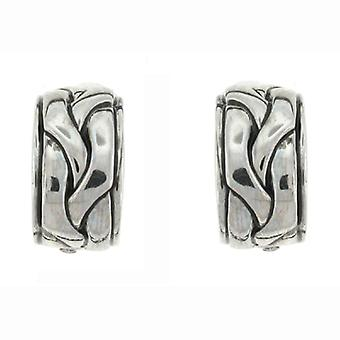 Clip op oorbellen winkel antiek zilver vlecht Semi hoepel Clip op oorbellen