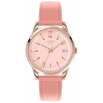 Henry London kvindes Rose Gold Dial Pink læder rem HL39-S-0156 Watch
