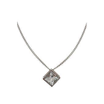 Silver Cube & Diamante Pendant Necklace