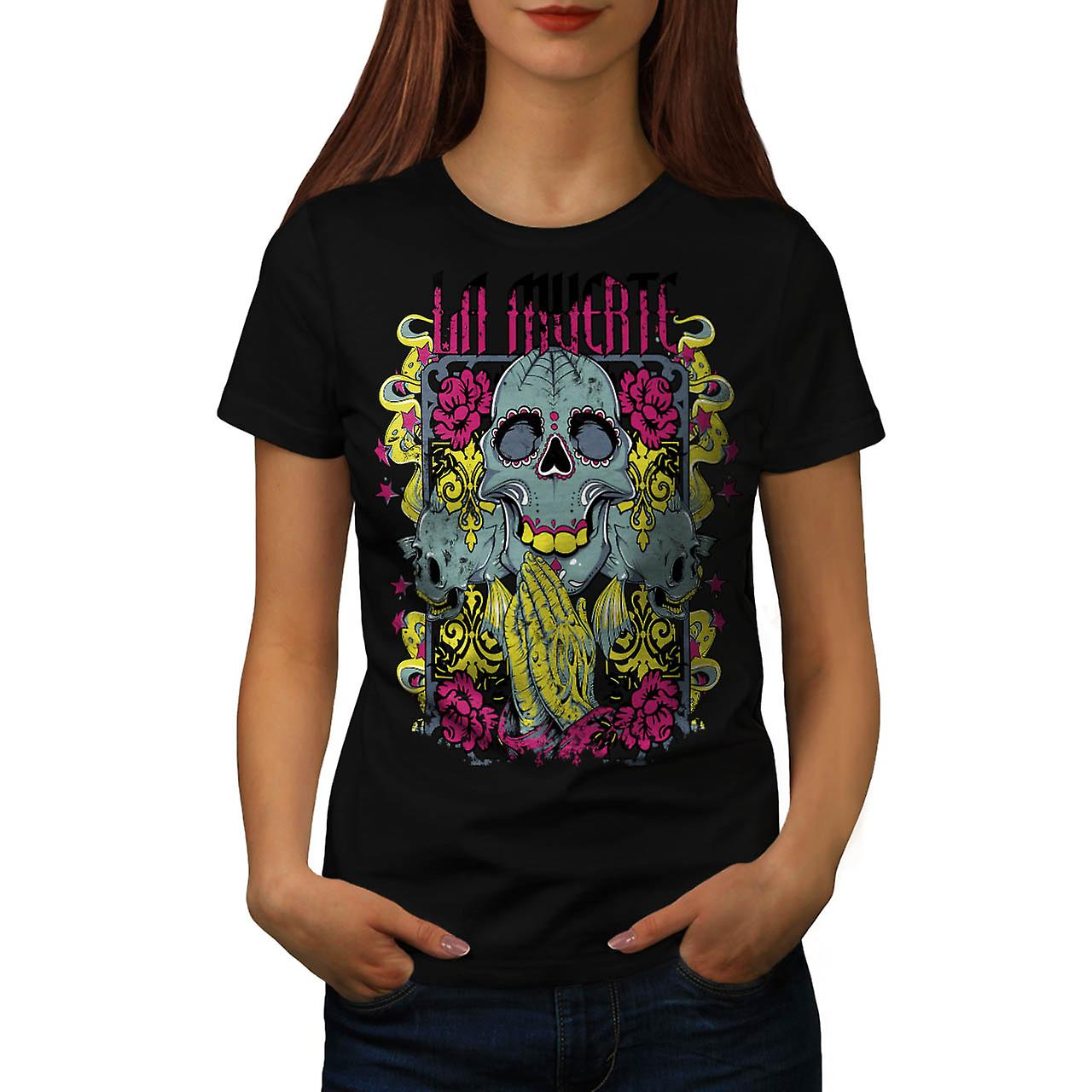Muerte Rose Cool Skull Women Black T-shirt | Wellcoda