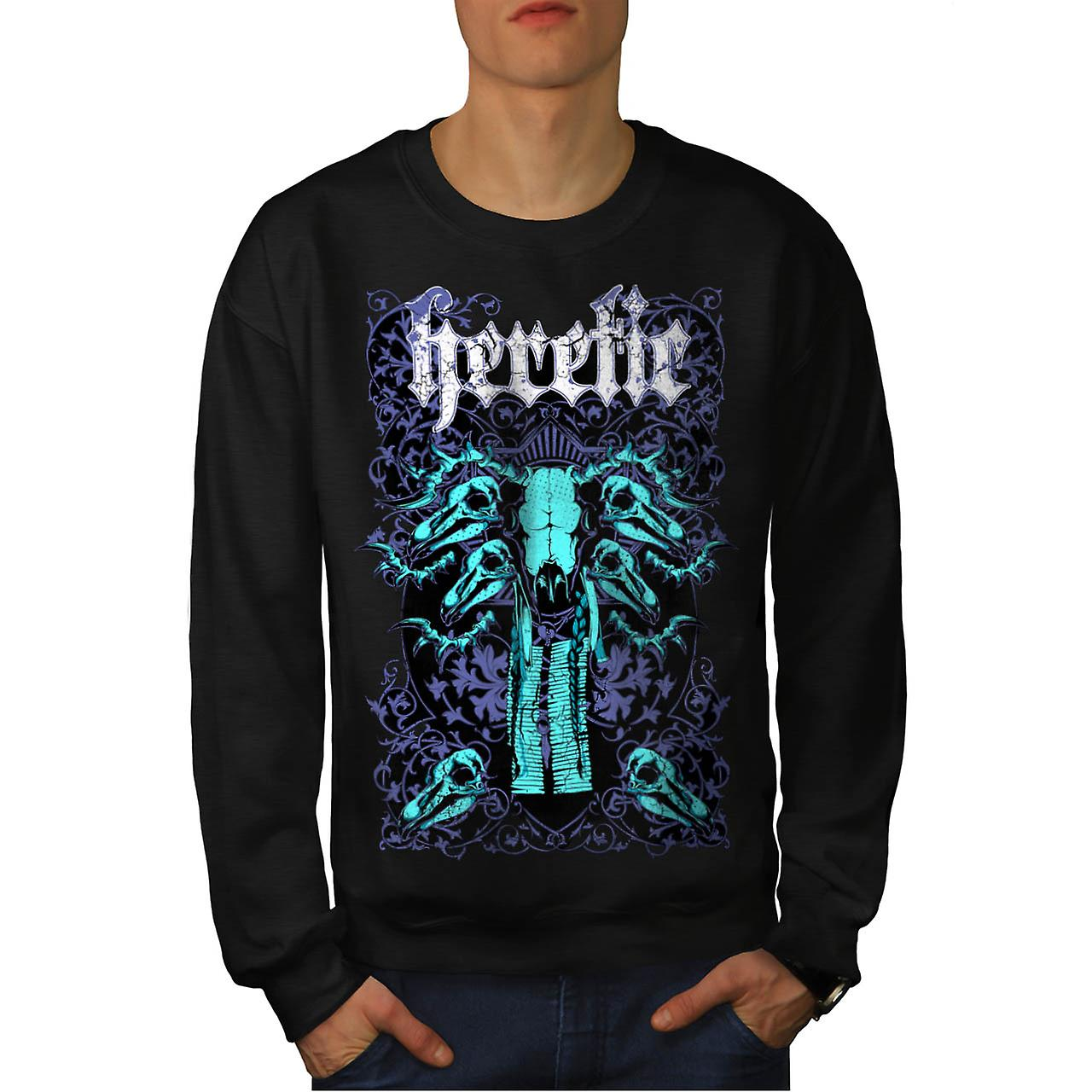 Heretic Monster Hell Giant Skull Men Black Sweatshirt | Wellcoda