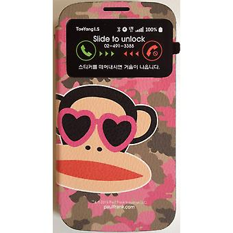 Original Paul Frank® View bag Cover Art Leather for Samsung Galaxy S4 / LTE with Design Camo Pink