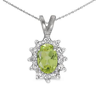 14k White Gold Oval Peridot And Diamond Pendant with 18