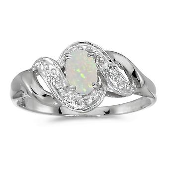 14k White Gold Oval Opal And Diamond Swirl Ring