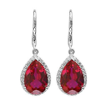 925 Sterling Silver 8 Carats Created Ruby Drop Earrings