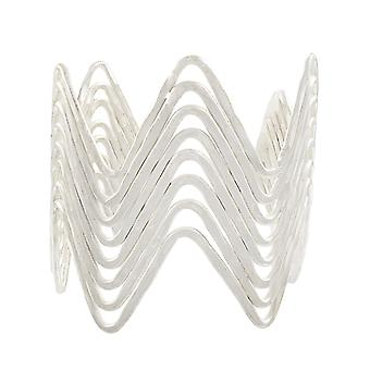 Bracelete largo ondulado Silvertone acabamento de 2 1/4 de polegada