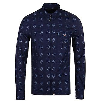 Pretty Green Maddox Navy Blue Zip Front Long Sleeve Slim Fit Shirt