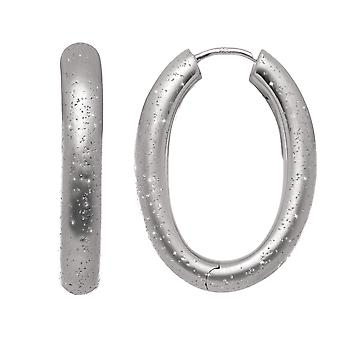 Sterling Silver Rhodium Plated With Brushed Diamond Dust Finish Oval Hoop Earrings