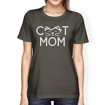 Katze Mom Womens dunkel grau T Shirt süße Graphic Tee Geschenke für Mütter