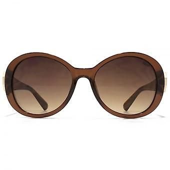 SUUNA Evie Hexagon Trim Detail Plastic Sunglasses In Crystal Brown