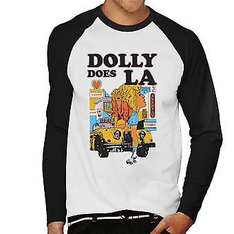 Dolly Does LA Roller Skater Girl Men's Baseball Long Sleeved T-Shirt