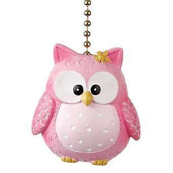 Pinky Hooty Owl Decorative Ceiling Fan Light Dimensional Pull