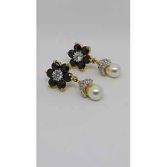 Gold Plated & Precious Gems Pearly Droplet Earrings
