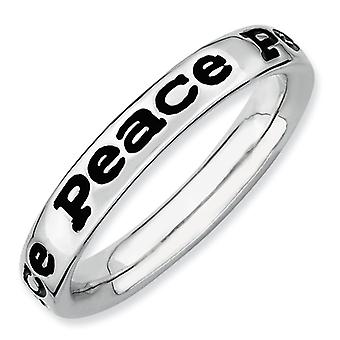 Sterling Silver Stackable Expressions Polished Enameled Peace Ring - Ring Size: 5 to 10