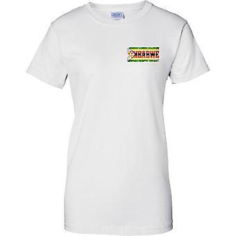 Zimbabwe Grunge Country Name Flag Effect - Ladies Chest Design T-Shirt