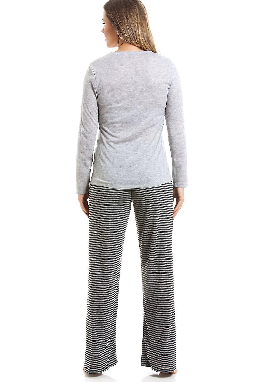 4365063802 Camille Grey And Black Striped Full Length Polar Bear Motif Pyjama ...