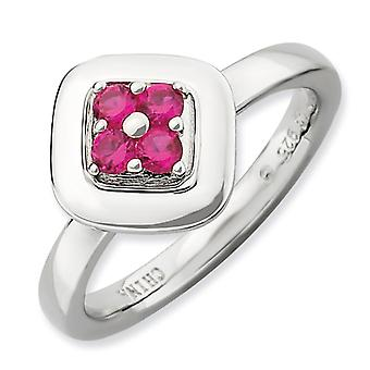 2.25mm Sterling Silver Stackable Expressions Polished Created Ruby Ring - Ring Size: 5 to 10