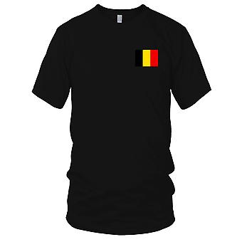 Land Belgien Nationalflagge - Stickerei Logo - 100 % Baumwolle T-Shirt Kinder T Shirt