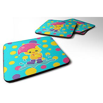 Set of 4 Duck in the Rain on Polkadots Foam Coasters Set of 4
