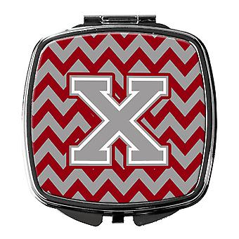 Letter X Chevron Crimson and Grey   Compact Mirror
