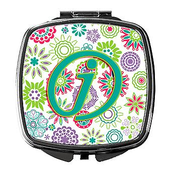 Letter J Flowers Pink Teal Green Initial Compact Mirror
