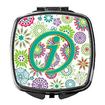 Letter J bloemen roze Teal groen eerste compacte spiegel
