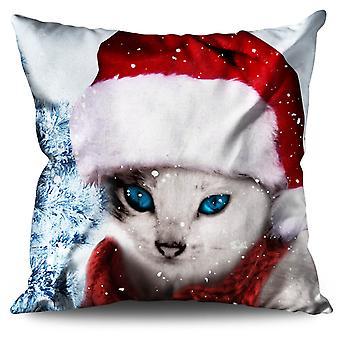 Christmas Cat Linen Cushion Christmas Cat | Wellcoda