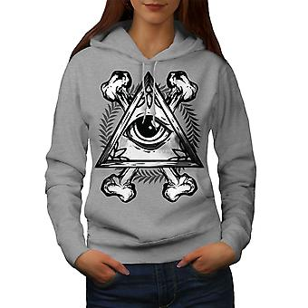 Triangle Eye Women GreyHoodie | Wellcoda