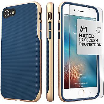 SaharaCase iPhone 8 y 7 azul caja oro, tendencia protectora Kit paquete con ZeroDamage® vidrio templado