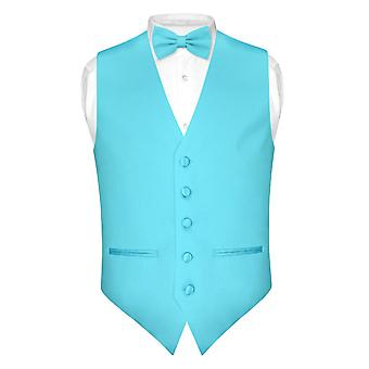 Mens SLIM FIT Dress Vest BowTie Bow Tie Handkerchief Set
