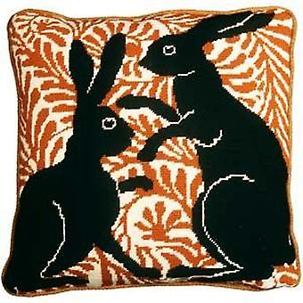 Black Boxing Hares Needlepoint Kit