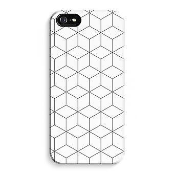 iPhone 5 / 5S / SE fuld Print sag (blank) - tern sort / hvid