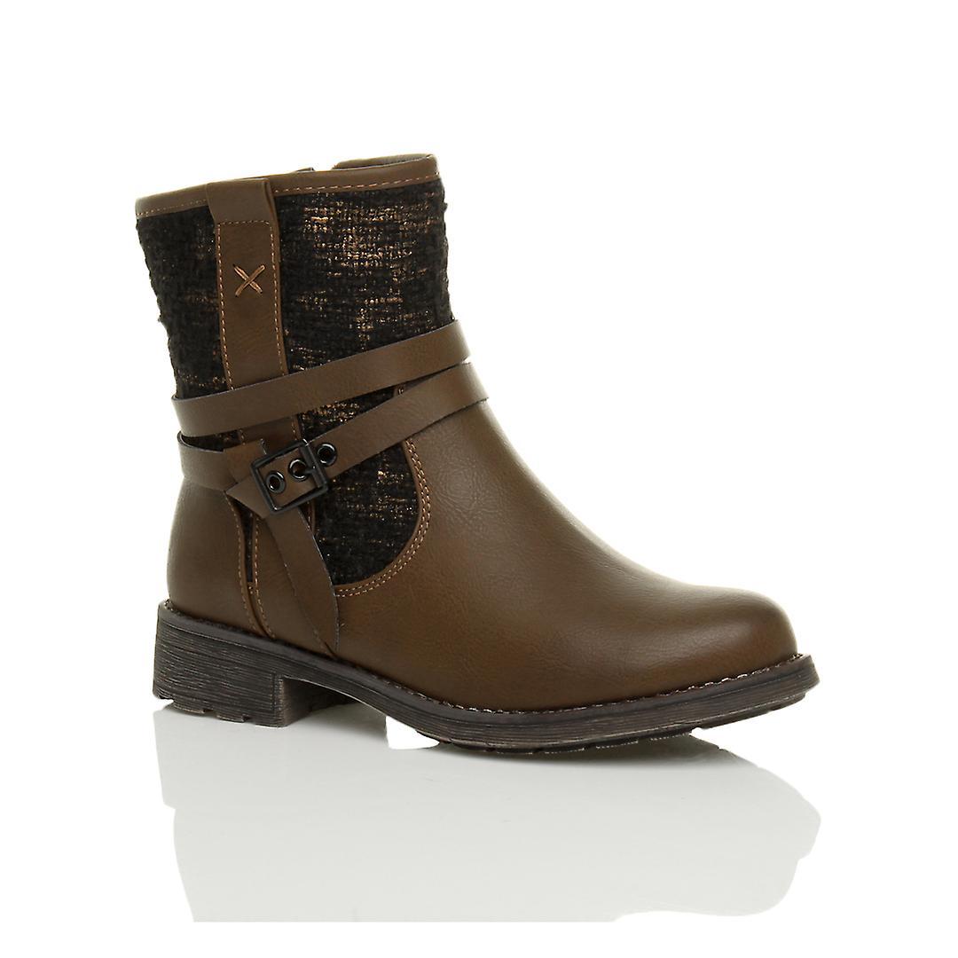 Ajvani womens low heel belt buckle straps zip metallic tweed twill ankle boots