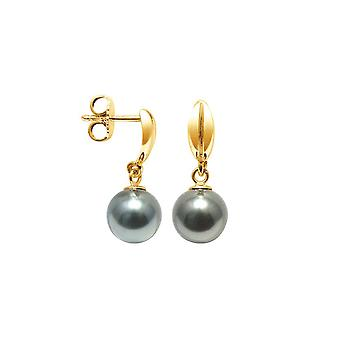 Earrings ears Pendantes Tahitian pearls and yellow gold 750/1000