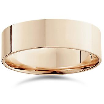 14k oro rosa 7mm piatto Comfort Fit pianura Wedding Band