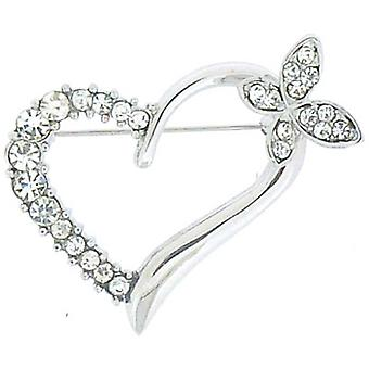 Brooches Store Small Silver  and  Crystal Heart with Butterfly Brooch