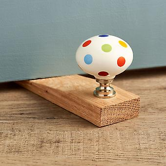 Colourful Spotted Oak Wedge Door Stop