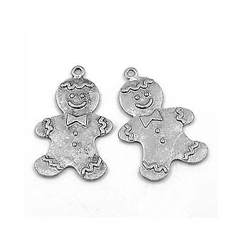 Packet 4 x Antique Silver Tibetan 42mm Gingerbread Charm/Pendant ZX01725
