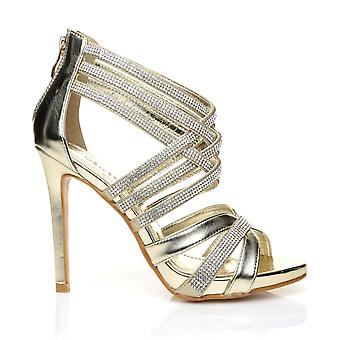 SONIA Champagne Gold Diamante Encrusted PU Leather High Heel Platform Strappy Sandals