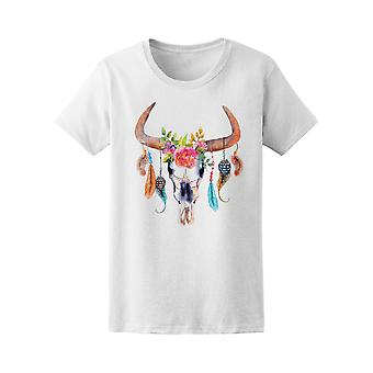Bull Skull Flowers And Feathers Tee. Women's -Image by Shutterstock