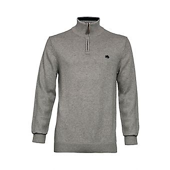 Knitted Quarter Zip Sweater - Grey Marl