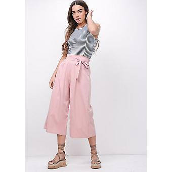 Atar la cintura pierna ancha Culotte pantalón rosa