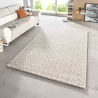Design cut pile carpet deep pile of impress Beige Cream Brown