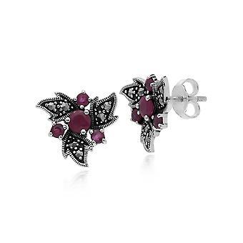 Gemondo Sterling Silver Ruby & Marcasite Nouveau Floral Earrings