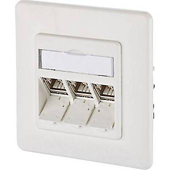 Network outlet Flush mount Insert with main panel and frame CAT 6A 3 ports Metz Connect 130B12D31002-E Pure white