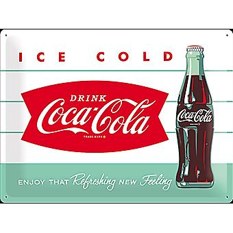 Coca Cola Ice Cold Bottle Large Embossed Steel Sign 400Mm X 300Mm