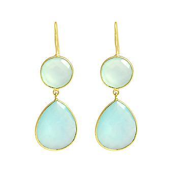 Gemshine - ladies - earrings - 925 Silver - gold plated - chalcedony - Aqua - green - CANDY - drop - 6 cm