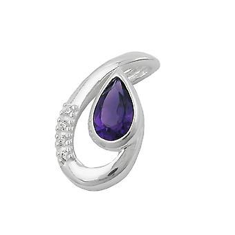 Silver Pendant Teardrop purple amethyst / 4 cubic zirconia 925 sterling silver
